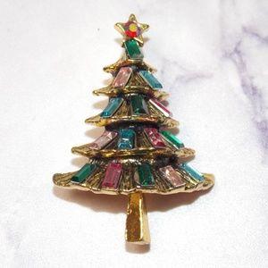 Vintage Style Christmas Tree Brooch Lapel Pin